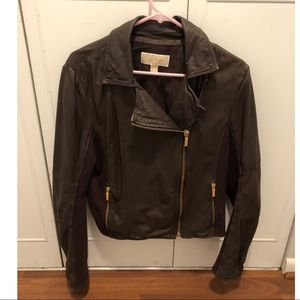 Michael Kors dark brown leather moto jacket